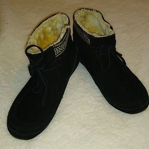 Lucky Brand Fur Lined Moccasin Booties Sz 7